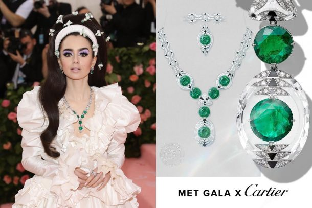 變裝造型中的最佳點綴! Lily Collins 佩戴 Cartier Magnitude 高級珠寶系列仙氣亮相2019 Met Gala !